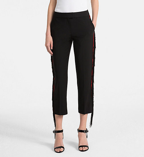 CALVINKLEIN Wool Stretch Fringed Trousers - BLACK - CALVIN KLEIN TROUSERS - main image