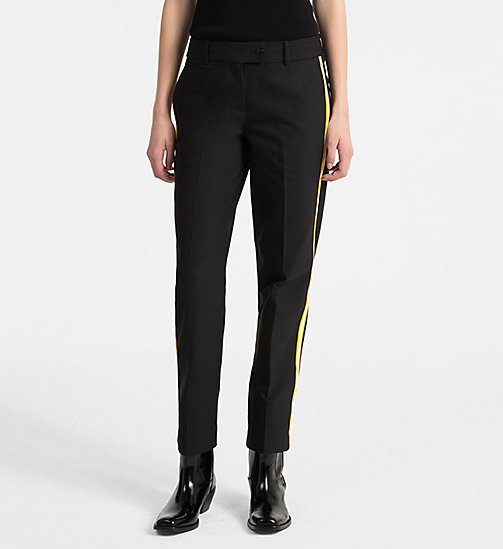 CALVINKLEIN Side-Stripe Trousers - BLACK/ YELLOW TRIM - CALVIN KLEIN TROUSERS - main image