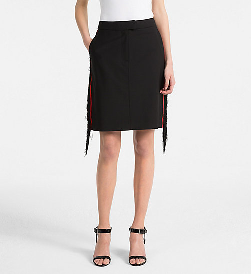 CALVINKLEIN Wool Stretch Fringed Skirt - BLACK - CALVIN KLEIN CLOTHES - main image