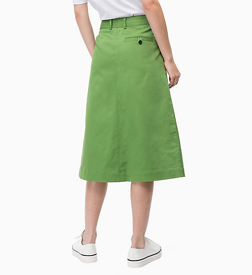 CALVINKLEIN Cotton Twill Chino Skirt - AIR FORCE GREEN - CALVIN KLEIN SKIRTS - detail image 1