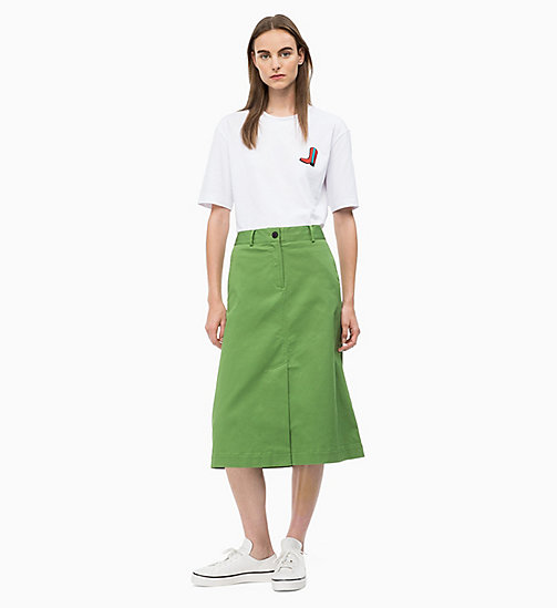 CALVIN KLEIN Cotton Twill Chino Skirt - AIR FORCE GREEN - CALVIN KLEIN CLOTHES - detail image 1
