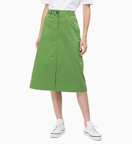 CALVIN KLEIN Cotton Twill Chino Skirt - AIR FORCE GREEN - CALVIN KLEIN CLOTHES - main image