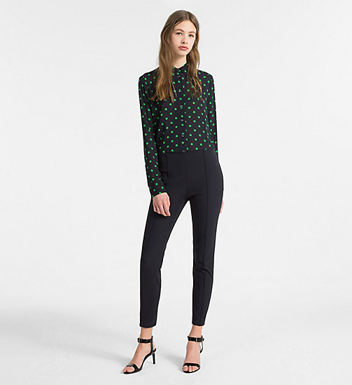 CALVINKLEIN Chiffon Polka Dot Blouse - LIGHT NAVY/ KELLY GREEN COMBO - CALVIN KLEIN TOPS - detail image 1