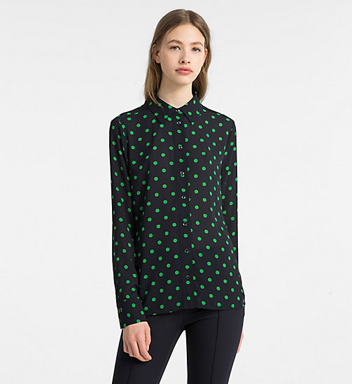 CALVINKLEIN Chiffon Polka Dot Blouse - LIGHT NAVY/ KELLY GREEN COMBO - CALVIN KLEIN TOPS - main image