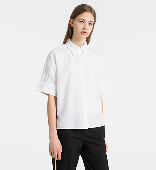 CALVINKLEIN Oxford Cotton Short-Sleeve Shirt - WHITE - CALVIN KLEIN CLOTHES - main image