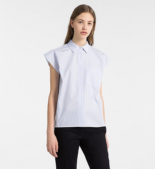 CALVINKLEIN Cap-Sleeve Stripe Shirt - FRENCH BLUE - CALVIN KLEIN CLOTHES - main image