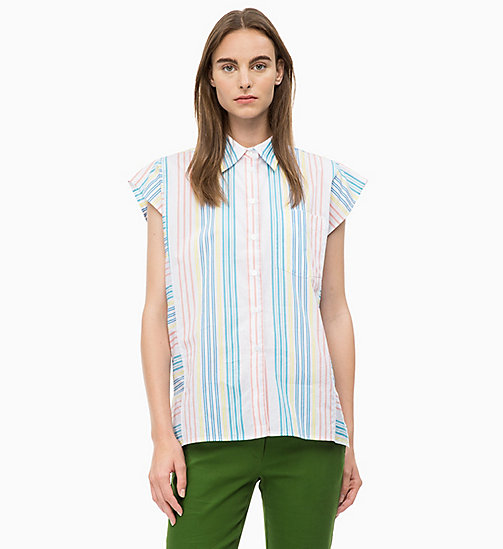 CALVIN KLEIN Cap-Sleeve Stripe Shirt - MULTI - CALVIN KLEIN CLOTHES - main image