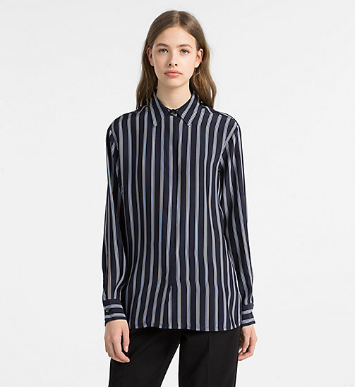 CALVINKLEIN Silk Stripe Shirt - LIGHT NAVY COMBO - CALVIN KLEIN CLOTHES - main image