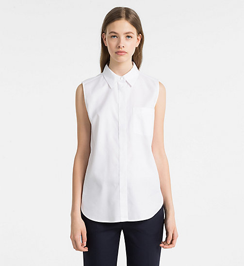 CALVINKLEIN Oxford Cotton Sleeveless Shirt - WHITE - CALVIN KLEIN CLOTHES - main image