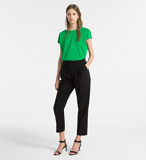 CALVINKLEIN Cap-Sleeve Twill Top - KELLY GREEN - CALVIN KLEIN CLOTHES - detail image 1