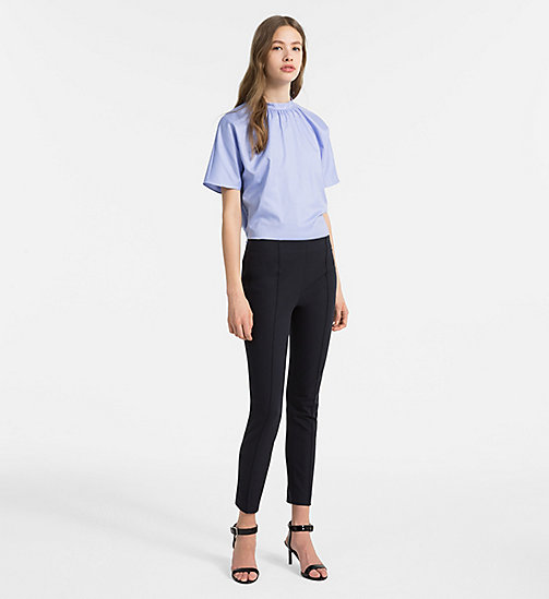 CALVINKLEIN Oxford Cotton Short-Sleeve Top - FRENCH BLUE - CALVIN KLEIN TOPS - detail image 1