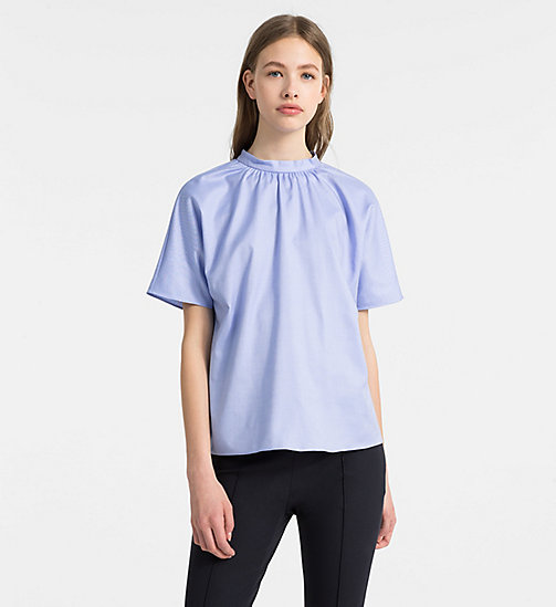 CALVINKLEIN Oxford Cotton Short-Sleeve Top - FRENCH BLUE - CALVIN KLEIN TOPS - main image