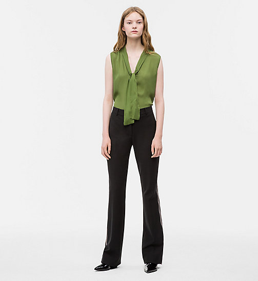 CALVINKLEIN Satin Tie-Neck Top - AIR FORCE GREEN - CALVIN KLEIN TOPS - detail image 1