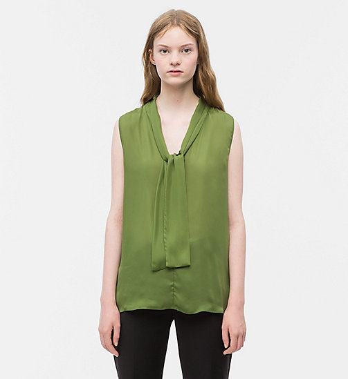 CALVIN KLEIN Satin Tie-Neck Top - AIR FORCE GREEN - CALVIN KLEIN CLOTHES - main image