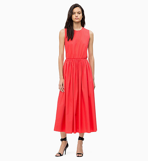 CALVINKLEIN Cotton Poplin Maxi Dress - CORAL - CALVIN KLEIN DRESSES - main image