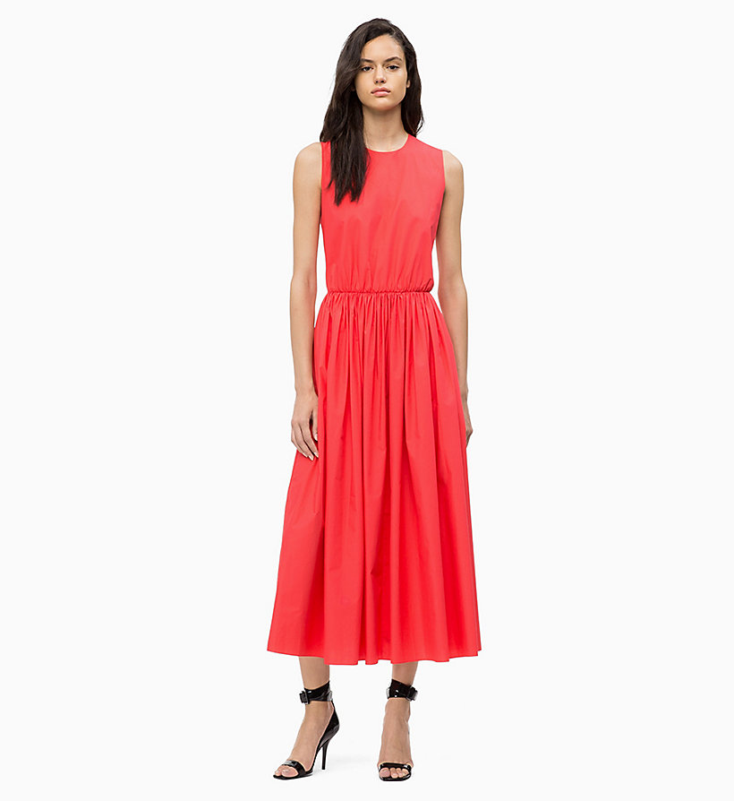 CALVINKLEIN Cotton Poplin Maxi Dress - WHITE - CALVIN KLEIN WOMEN - main image
