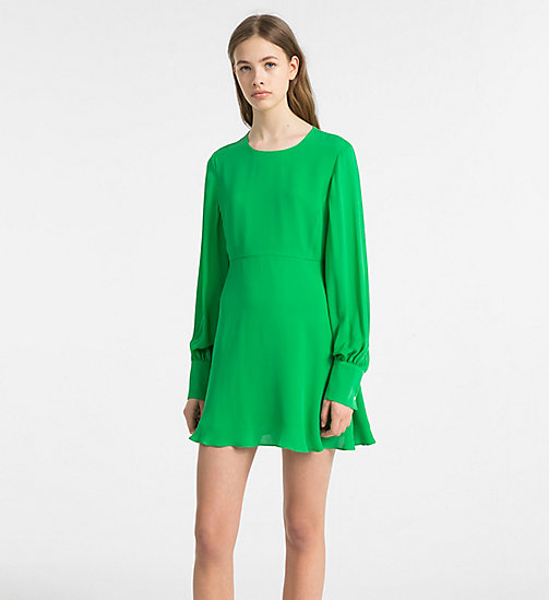CALVINKLEIN Silk Georgette Dress - KELLY GREEN - CALVIN KLEIN CLOTHES - main image