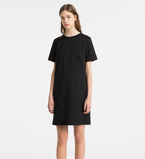CALVINKLEIN Cotton Twill Short-Sleeve Dress - BLACK - CALVIN KLEIN CLOTHES - main image