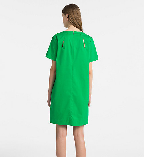 CALVINKLEIN Cotton Twill Short-Sleeve Dress - KELLY GREEN - CALVIN KLEIN CLOTHES - detail image 1