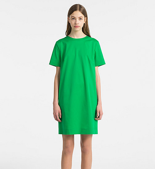 CALVINKLEIN Cotton Twill Short-Sleeve Dress - KELLY GREEN - CALVIN KLEIN CLOTHES - main image