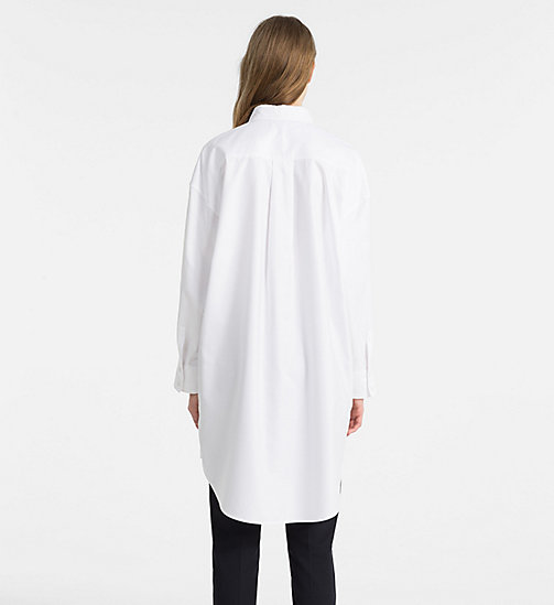 CALVINKLEIN Oxford Cotton Shirt Dress - WHITE/ FRENCH BLUE C - CALVIN KLEIN CLOTHES - detail image 1