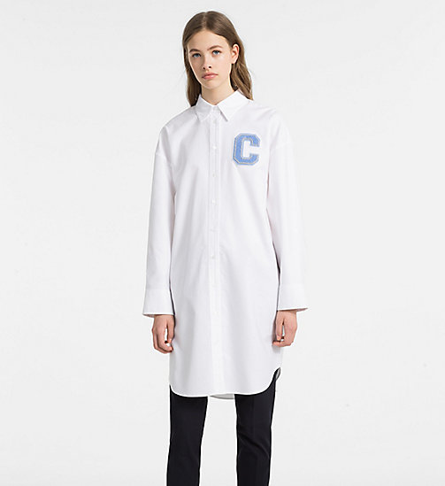 CALVINKLEIN Oxford Cotton Shirt Dress - WHITE/ FRENCH BLUE C - CALVIN KLEIN CLOTHES - main image
