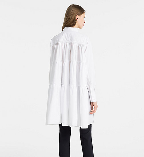 CALVINKLEIN Cotton Poplin Tiered Shirt Dress - WHITE - CALVIN KLEIN CLOTHES - detail image 1