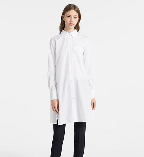 CALVINKLEIN Cotton Poplin Tiered Shirt Dress - WHITE - CALVIN KLEIN CLOTHES - main image