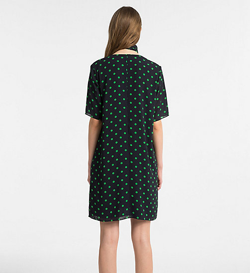 CALVINKLEIN Chiffon Polka Dot Dress - LIGHT NAVY/ KELLY GREEN COMBO - CALVIN KLEIN CLOTHES - detail image 1