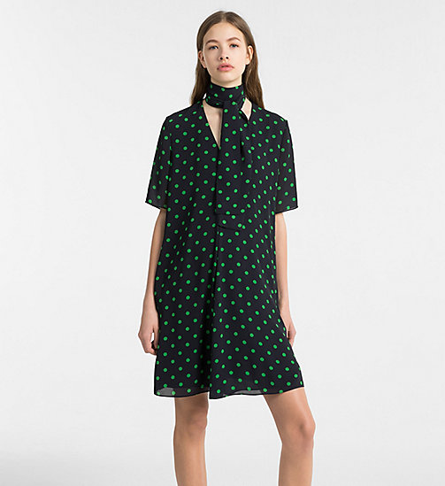CALVINKLEIN Chiffon Polka Dot Dress - LIGHT NAVY/ KELLY GREEN COMBO - CALVIN KLEIN CLOTHES - main image