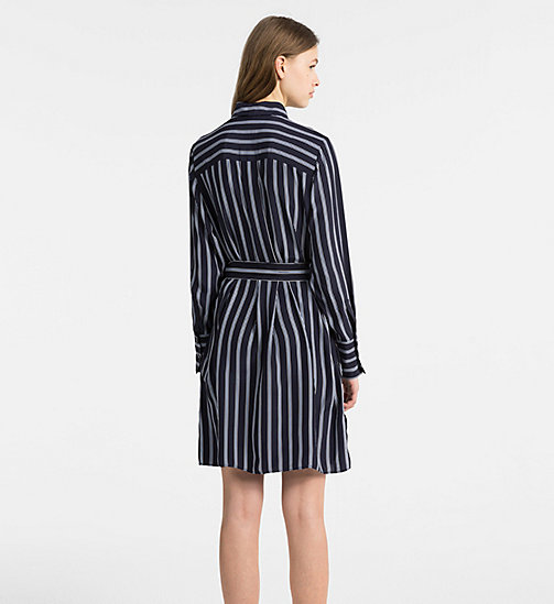CALVINKLEIN Silk Belted Shirt Dress - LIGHT NAVY COMBO - CALVIN KLEIN CLOTHES - detail image 1