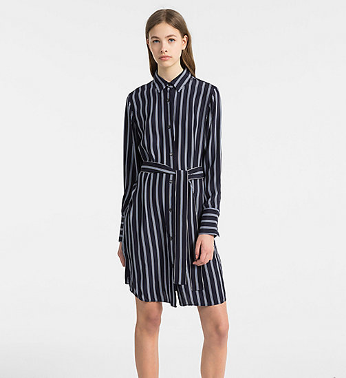 CALVINKLEIN Silk Belted Shirt Dress - LIGHT NAVY COMBO - CALVIN KLEIN CLOTHES - main image