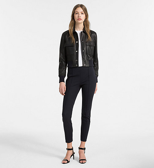 CALVINKLEIN Cropped Leather Jacket - BLACK/ LIGHT NAVY - CALVIN KLEIN CLOTHES - detail image 1