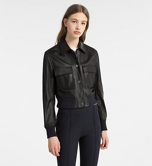 CALVINKLEIN Cropped Leather Jacket - BLACK/ LIGHT NAVY - CALVIN KLEIN COATS & JACKETS - main image
