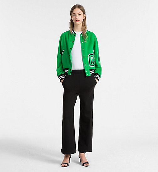 CALVINKLEIN Wool Varsity Bomber Jacket - KELLY GREEN - CALVIN KLEIN CLOTHES - detail image 1