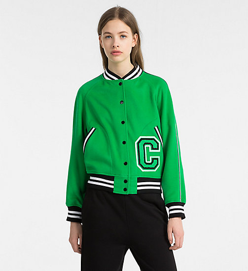 CALVINKLEIN Wool Varsity Bomber Jacket - KELLY GREEN - CALVIN KLEIN CLOTHES - main image