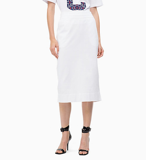 CALVINKLEIN Logo Applique Skirt - WHITE - CALVIN KLEIN SKIRTS - detail image 1