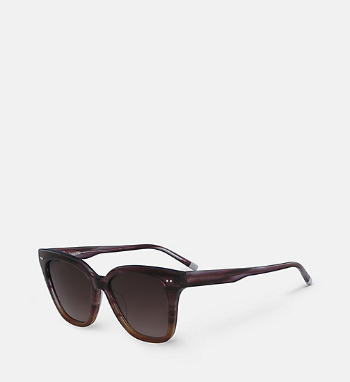 CALVINKLEIN Angular Sunglasses CK4359S - STRIPED PURPLE BROWN - CALVIN KLEIN SUNGLASSES - detail image 1