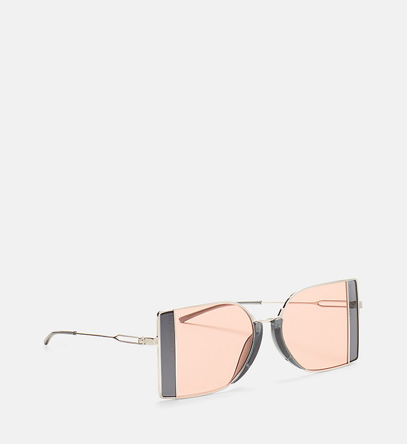 CALVINKLEIN Rectangle Sunglasses CK8057S - SILVER/DARK SILV - CALVIN KLEIN WOMEN - detail image 1