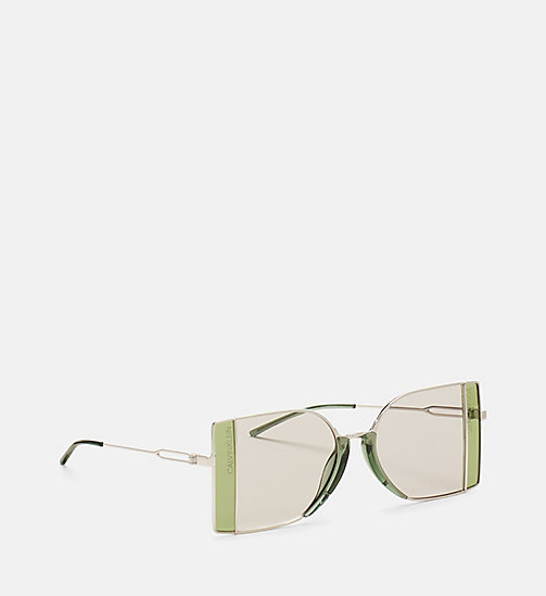 CALVINKLEIN Rectangle Sunglasses CK8057S - SILVER/DARK SILV - CALVIN KLEIN SHOES & ACCESSORIES - detail image 1