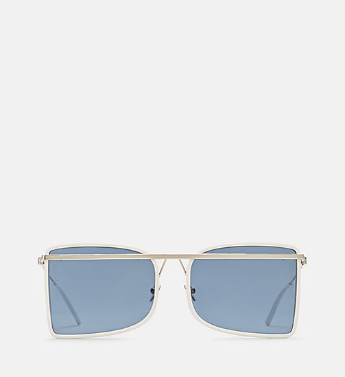 CALVINKLEIN Deco Curved Brow Bar Sunglasses - WHITE/OPAL/BUFF - CALVIN KLEIN EYEWEAR - main image