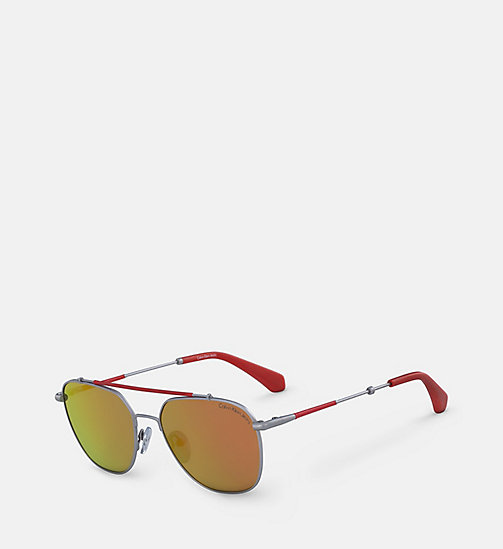 CALVIN KLEIN JEANS Navigator Sunglasses CKJ165S - SATIN NICKEL 020 (TO CHECK) - CALVIN KLEIN JEANS MEN - detail image 1