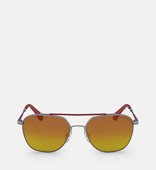 CALVIN KLEIN JEANS Navigator Sunglasses CKJ165S - SATIN NICKEL 020 (TO CHECK) - CALVIN KLEIN JEANS SUNGLASSES - main image