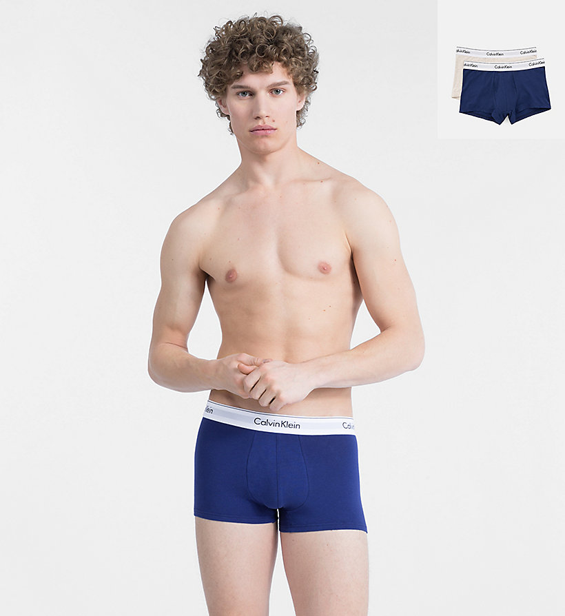 CALVINKLEIN 2 Pack Trunks - Modern Cotton - RALIEGH/GREY HEATHER - CALVIN KLEIN UNDERWEAR - main image