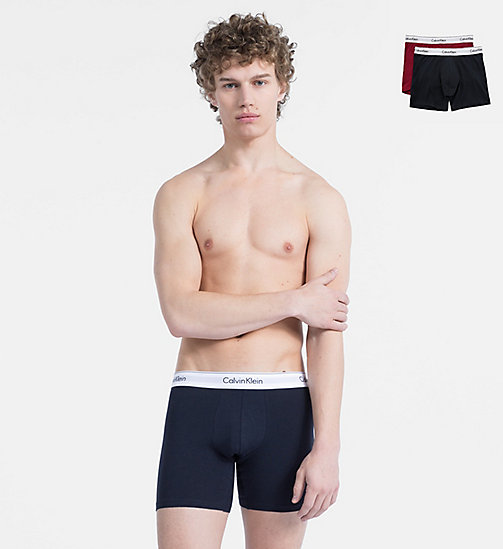 CALVINKLEIN 2 Pack Boxers - Modern Cotton - HAGUE BLUE/BIKING RED - CALVIN KLEIN NEW FOR MEN - main image