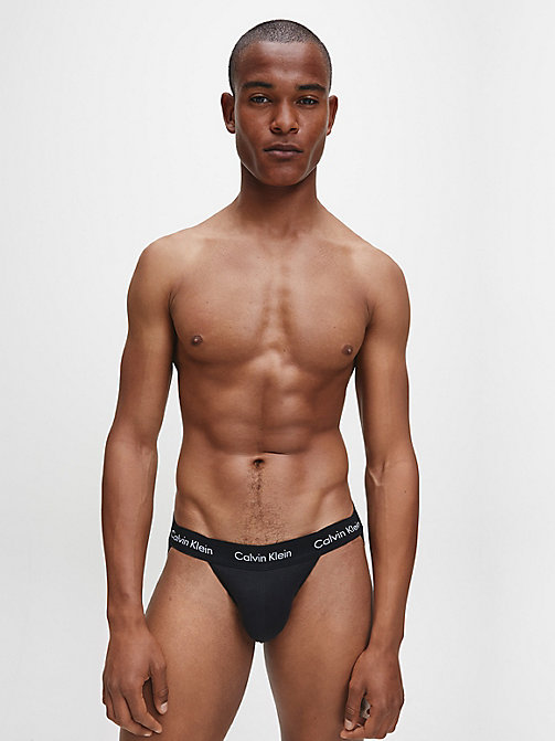 CALVINKLEIN Lot de 2 strings homme - Cotton Stretch - BLACK - CALVIN KLEIN SLIPS - image détaillée 1