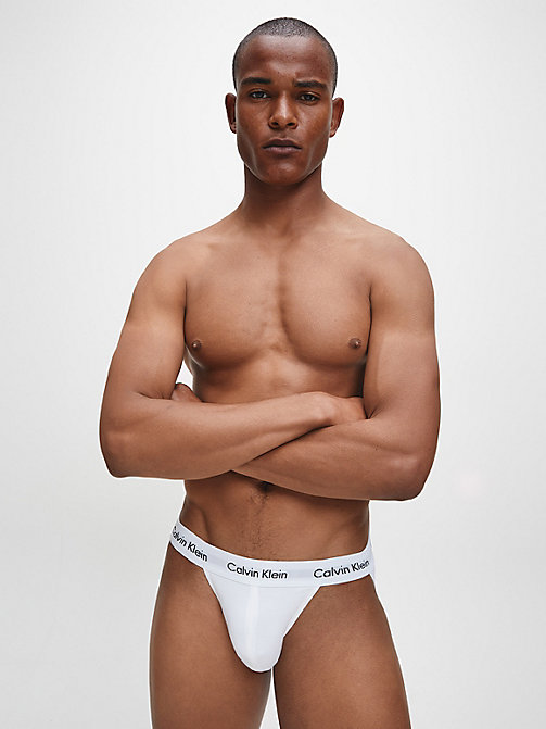 CALVIN KLEIN 2 Pack Jock Strap - Cotton Stretch - WHITE - CALVIN KLEIN BRIEFS - detail image 1