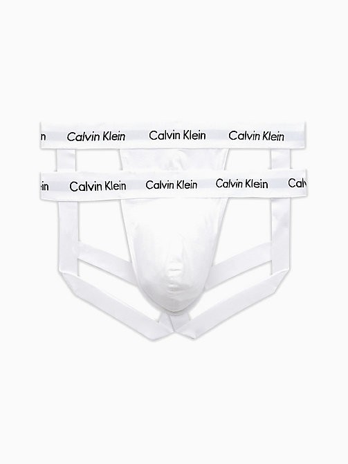 CALVINKLEIN 2 Pack Jock Strap - Cotton Stretch - WHITE - CALVIN KLEIN NEW ARRIVALS - main image