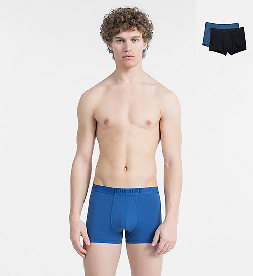 CALVINKLEIN 2 Pack Trunks - HAGUE BLUE/DOWNPOUR - CALVIN KLEIN NEW FOR MEN - main image
