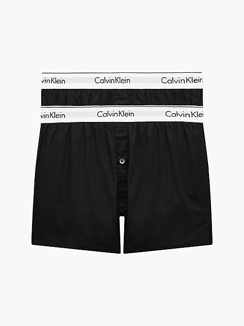CALVIN KLEIN 2 Pack Slim Fit Boxers - Modern Cotton - BLACK / BLACK - CALVIN KLEIN NEW ICONS - main image